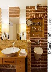 muur, badkamer, baksteen