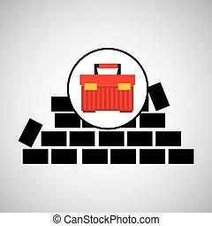 muur, baksteen, de doos van het hulpmiddel, ontwerp