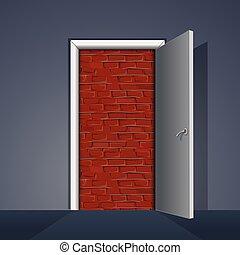 muur, baksteen, deur