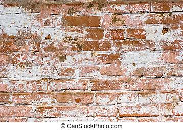 muur, baksteen, flaked-off, vergoelijkt