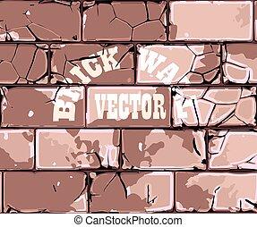 muur, baksteen, oud, retro