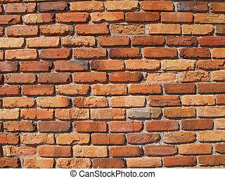 muur, baksteen, oud, rood, buitenkant