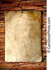 muur, baksteen, papier, oud