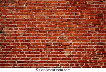 muur, baksteen, rood