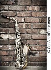 muur, baksteen, saxofone