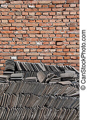 muur, baksteen, tegels, chinees