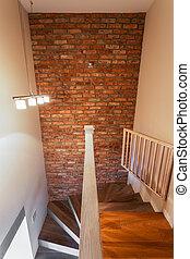 muur, baksteen, trap
