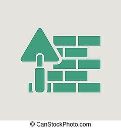 muur, baksteen, trowel, pictogram