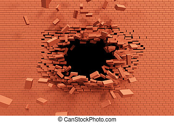 muur, baksteen, verbreking