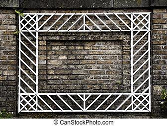 muur, baksteen, witte , frame