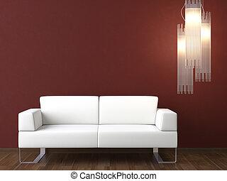 muur, bankstel, ontwerp, interieur, witte , bordeaux