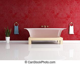muur, bathtube, mode, stucco, tegen