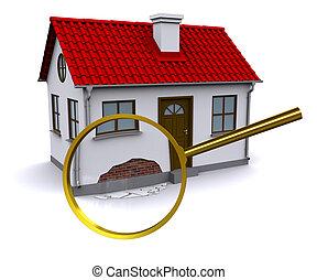 muur, beschadigen, glas, uitbouwingen, thuis, vergroten, 3d
