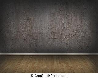 muur, beton, houtenvloer