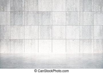 muur, beton, kamer, lege, vloer