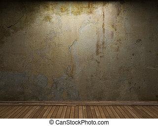 muur, beton, oud