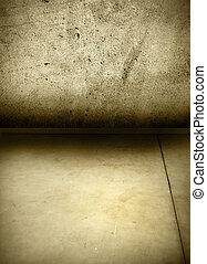 muur, betonnen vloeren