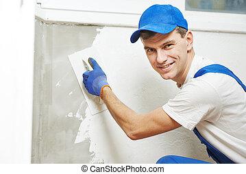 muur, binnen, werken, stukadoor