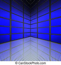 muur, blauwe , video, schermen