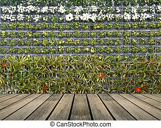 muur, bloemtuin, verticaal