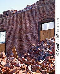 muur, bouwterrein, beton, puin, stapel, gesloopte, baksteen...