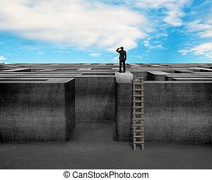 muur, bovenzijde, beton, doolhof, zakenman, het turen, ladder