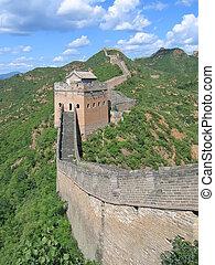 muur, china, groot, china