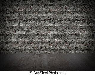 muur, concrete baksteen, oud, vloer