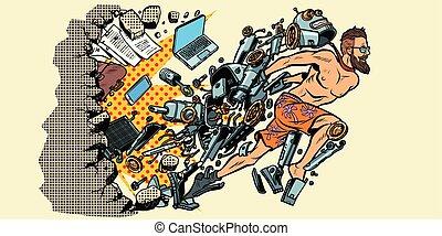muur, draaien, verbreking, robot, kunstmatig, menselijk, intelligentie, stereotypen