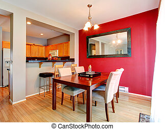 muur, eetkamer, rood, contrast