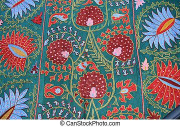 muur, floral, israël, tapestry, hangend