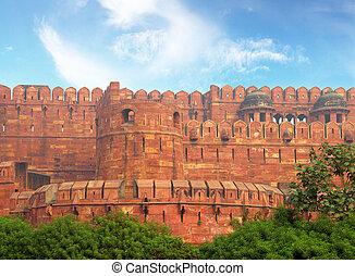 muur, fort, rood, agra