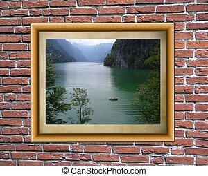 muur, fotolijst, baksteen