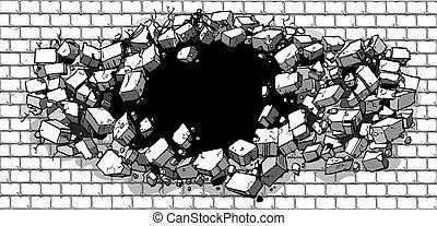 muur, gat, door brekend, baksteen
