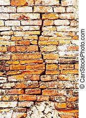 muur, gebarsten, baksteen