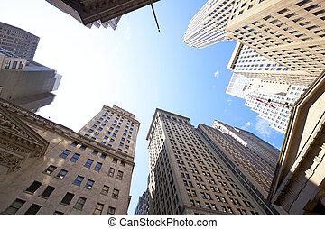 muur, gebouwen, straat