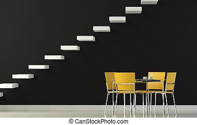 muur, gele, stoelen, ontwerp, interieur, black