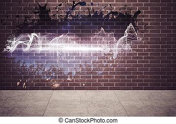 muur, gespetter, het openbaren, energie, golf