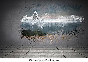 muur, gespetter, het openbaren, energie, wav