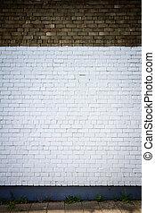 muur, geverfde, baksteen, oud, witte