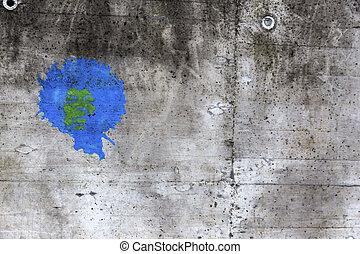 muur, grijs, gespetter, kleur