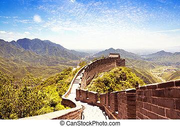 muur, groot, china