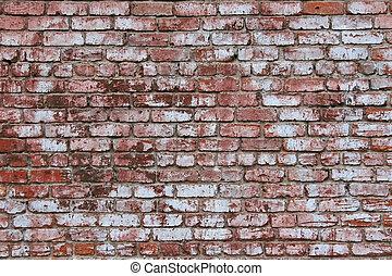 muur, grungy, witte baksteen, gewassen