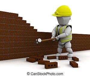 muur, hamer, man, het slopen, slede