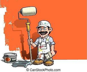 muur, handyman, -, uniform, witte , schilder