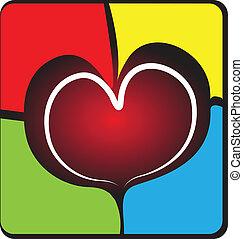 muur, hart, logo, kapot