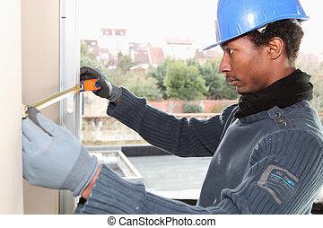 muur, het meten, arbeider