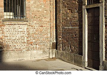 muur, hoek, baksteen, rood