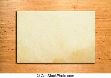 muur, hout, papier, oud