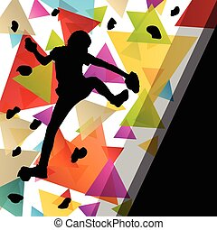 muur, illustratie, gezonde , silhouettes, achtergrond,...